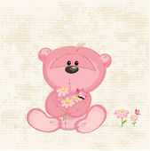 Cute bear with flowers — Stock Vector