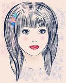 портрет милой девушкой — Cтоковый вектор