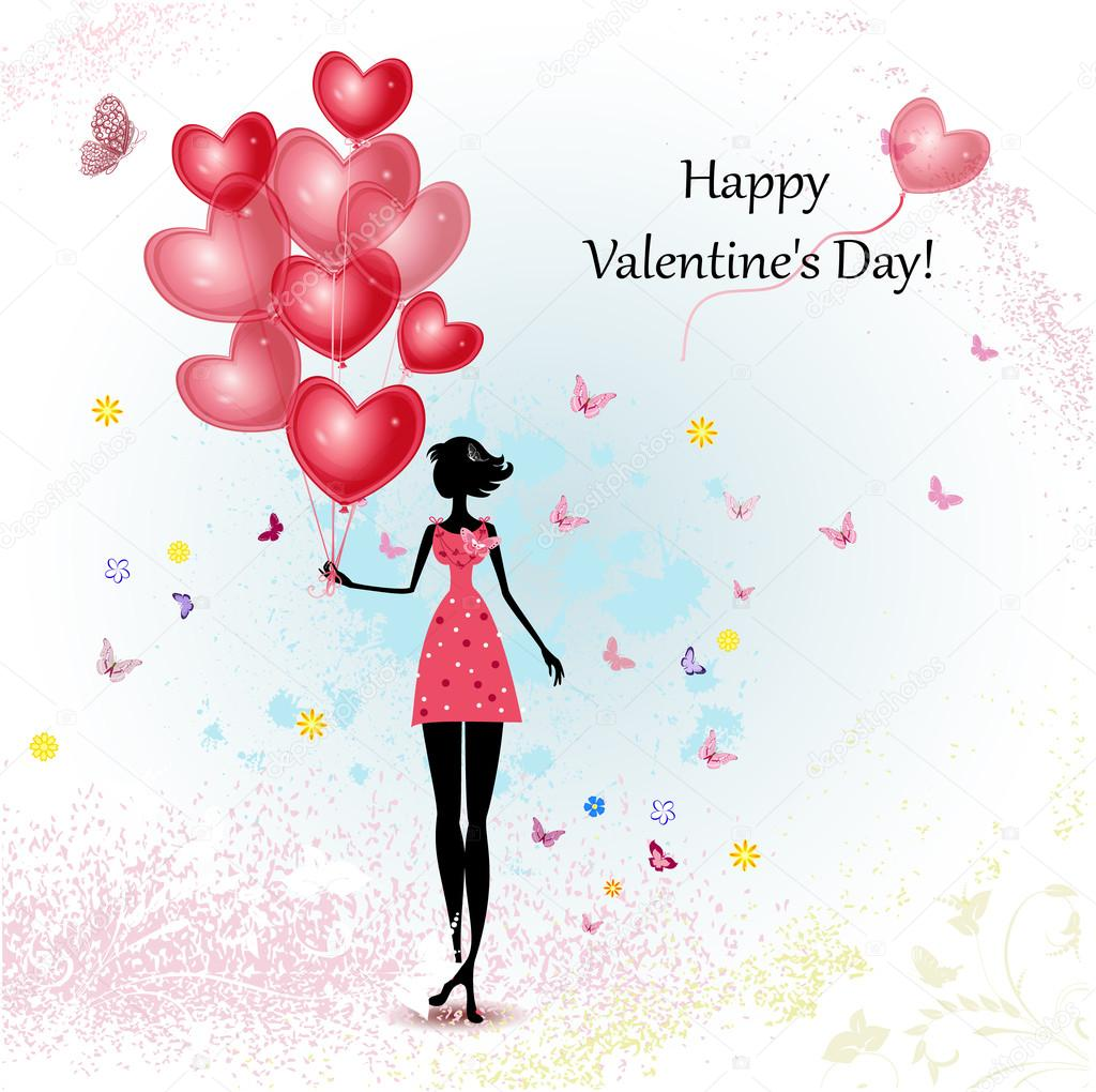 Card design girl with Valentine's Day — Stock Vector #18758147