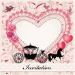 Valentine's card with a horse and carriage - Stok Vektör