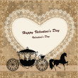 Valentine's card with a horse and carriage — Stok Vektör
