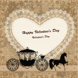 Valentine's card with a horse and carriage - Векторная иллюстрация