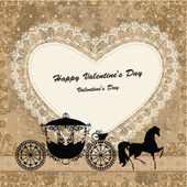 Valentine's card with a horse and carriage — 图库矢量图片