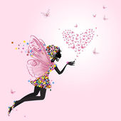 Fairy with a valentine of butterflies — Stock Photo