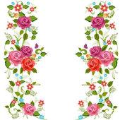 Frontera foliada con flor de rosas — Foto de Stock