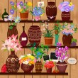 Flower pots on wooden shelves - Stock Vector