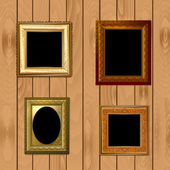 Set frames on wooden texture for your design — Stock Vector