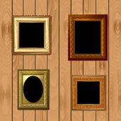 在为您的设计的木质纹理上设置帧 — 图库矢量图片