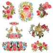 Set of decorative birds with flowers for your design — 图库矢量图片