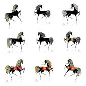 Collection of beautiful decorative horses for your design — Stock vektor