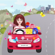 Girl in a red convertible with gifts — Stock Vector