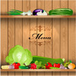 Fresh vegetables on wooden shelves for your design — Stock Vector #23015502