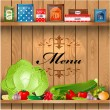 Delicious and healthy food on wooden shelves realistic - Stock Vector