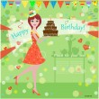 Girl with a birthday cake for your design — Stock Vector