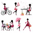 Set of silhouette of beautiful girls on vacation — Imagen vectorial