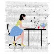 Business woman with laptop — Vector de stock #23015648