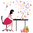 Girl with laptop likes to communicate — Stock Vector