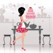 Girl with a birthday cake for your design — Stock Vector #23015678