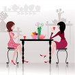 Girls in the cafe — Stock Vector