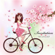 Beautiful girl on the bike — Stock Vector