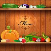 Fresh vegetables on wooden shelves for your design — Stock Vector
