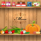Delicious and healthy food on wooden shelves realistic — Stock Vector