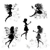 Set of fairies with butterflies — Stock Vector