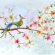 Watercolor drawing of a bird on a floral branch - Stock Photo