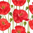 Seamless texture of red poppies — ベクター素材ストック