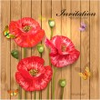 Poppies with butterflies on wood texture for your design — Stock Vector