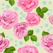Flower texture with roses seamless - Stockvectorbeeld