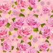 Flower texture with roses seamless - Stock Vector