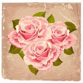 Bukett av rosor i retro design — Stockvektor