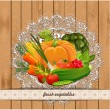Fresh vegetables for your design. Vintage collection — Stock Vector #26365585