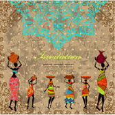 Card design with vintage african girl — Vettoriale Stock