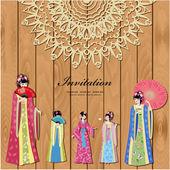 Design with beautiful oriental girls — Stock Vector