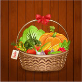 Basket fresh vegetables for your design — Cтоковый вектор