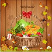 Basket fresh vegetables for your design — Stock Vector