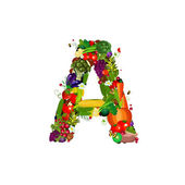 Fresh vegetables and fruits letter A — Stock Vector