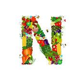 Färska grönsaker och frukter bokstaven n — Stockvektor