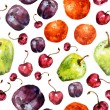 Fruit seamless texture watercolor — 图库照片