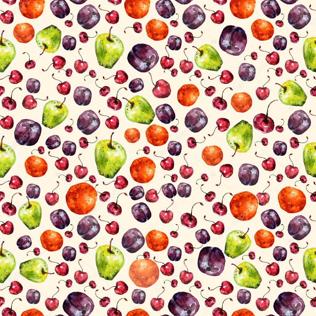 水彩笔画水果盆_绘画分享