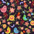 Cheerful seamless texture with birds — Stock vektor