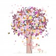 Stock Vector: Festive romantic tree