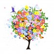 Stock Vector: Flower abstract tree with birds