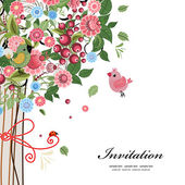 Postcard design with decorative tree — Stock Vector