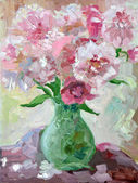 Etude oil painting peonies in a vase — Stock Photo
