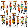Silhouettes of beautiful African women — Stock Vector