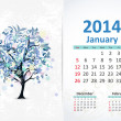 Calendar for 2014, january — Stock Vector