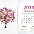Calendar for 2014, february — Stock Vector